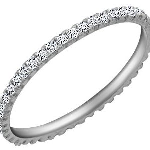 Jewel Zone US White Natural Diamond Eternity Stackable Wedding Ring in 14k Solid Gold (1/5 Ct)