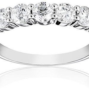14k White Gold 5-Stone Diamond Anniversary Band (1.00 cttw, H-I Color, I2-I3 Clarity), Size 8