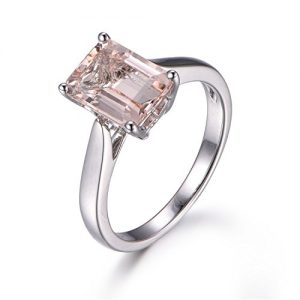 7x9mm Emerald Cut Pink Morganite Engagement Ring,14K Plain White Gold,Solitaire Ring,Heart Side Design