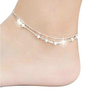 Bestjybt Little Star Silver Plated Chain Ankle Bracelet Barefoot Sandal Beach Foot Jewelry