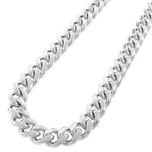 Sterling Silver 13.5mm Miami Cuban Curb Link Thick Solid 925 Rhodium Chain Necklace 24″ – 34″
