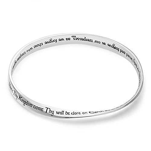 925 Sterling Silver Proverbs Engraved Lord S Prayer Scripture Twisted Bangle Bracelet