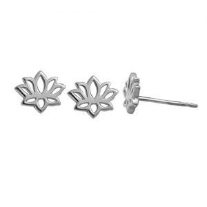 Boma Jewelry Sterling Silver Lotus Blossom Flower Stud Earrings