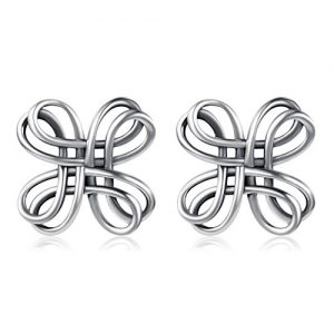 Celtic Knot Studs 925 Sterling Silver Oxidation Celtic Knot Cross Bow Stud Earrings for Women,Girls