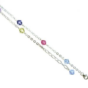 JOSCO Multi-Color Crystals with .925 Sterling Silver Anklet, Bracelet. 7,8,9,10,11,12,13 Inches