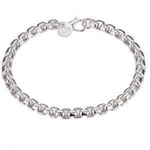 NA BEAUTY Sterling Silver Chain Link Bracelet 8″ with Lobster Clasp for Closure. Simple and Fashion.