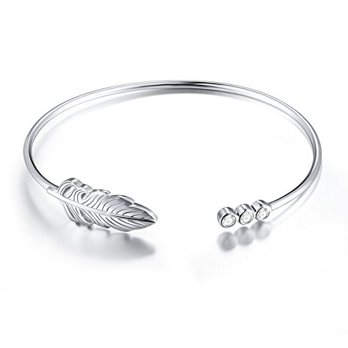 S925 Sterling Silver Cuff Feather Bangle Bracelet