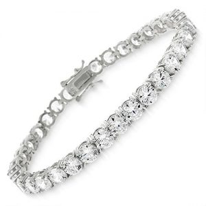 Sterling Silver 5mm Brilliant-Cut Clear Round CZ White Tennis Bracelet 6.5″, 7″, 8″