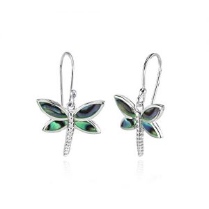 Sterling Silver Abalone or Simulated Turquoise Polished Dragonfly Dangle Earrings