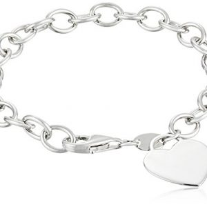 Sterling Silver  And Yellow Gold Plated Heart Tag Bracelet, 7.5″