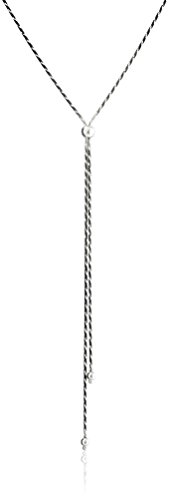"Sterling Silver Diamond-Cut Snake-Chain ""Y"" Necklace, 16″"