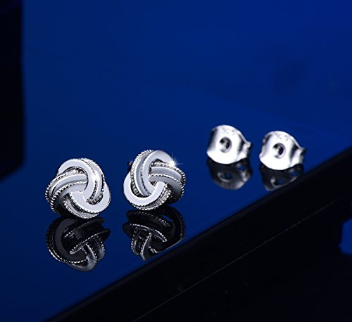 42312329244 White Gold Plated Sterling Silver Studs Love Knot Earring For Women ...