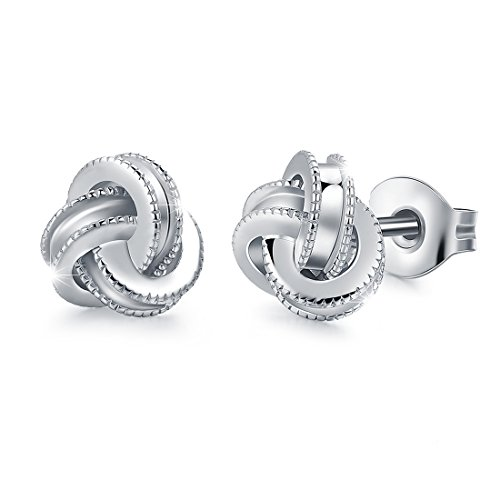 ae7ddcce3 White Gold Plated Sterling Silver Studs Love Knot Earring For Women |  Hypoallergenic ...