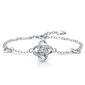 "Christmas Gift Bracelet for women -925 sterling silver Four Leaf Clover Bracelet for women wish ""GOOD LUCK"" with Inspirational Quote Card Perfect Gift for Her"