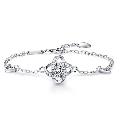 Women 925 Sterling Silver Bracelet W M Four Leaf Clover
