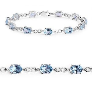 Johareez 10.45 cts Blue Topaz .925 Sterling Silver Rhodium Plated Bracelet for Women