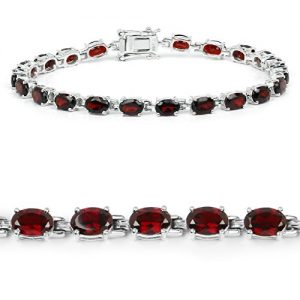 Johareez 10.71 cts Garnet .925 Sterling Silver Rhodium Plated Bracelet for Women