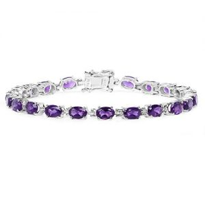 Johareez Amethyst Tennis Rhodium Plated Bracelet for Women Wedding Anniversary Gift Purpose (.925 Sterling Silver,9.03 cts)