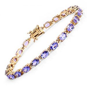 Johareez 9.68 cts Tanzanite .925 Sterling Silver 14K Yellow Gold Plated Bracelet for Women
