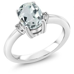 Gem Stone King 1.13 Ct Oval Sky Blue Aquamarine White Diamond 925 Sterling Silver Engagement Ring