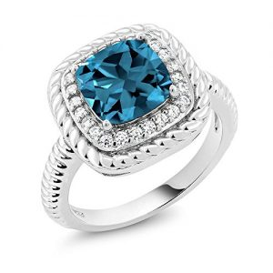 2.74 Ct Cushion Cut London Blue Topaz 925 Sterling Silver Engagement Ring (Available in size 5, 6, 7, 8, 9)