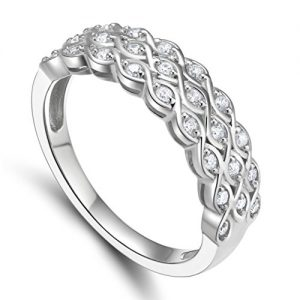 925 Sterling Silver Cubic Zirconia Multi-Row Anniversary Ring