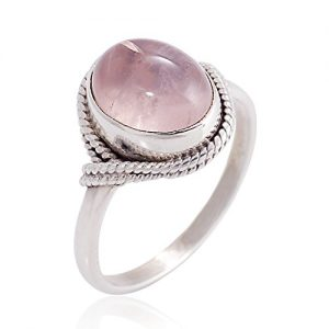 Women?s 925 Sterling Silver Rose Quartz Oval Gemstone Vintage Ring, Available in Sizes 6-8
