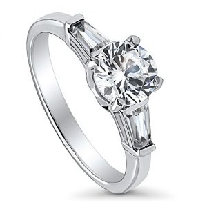 BERRICLE Rhodium Plated Sterling Silver Round Cut Cubic Zirconia CZ 3-Stone Promise Engagement Ring