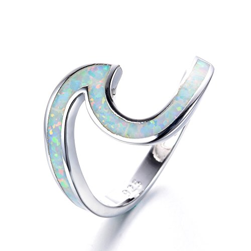 Bamos 925 Sterling Silver Ring Wave Ocean Beach Lab