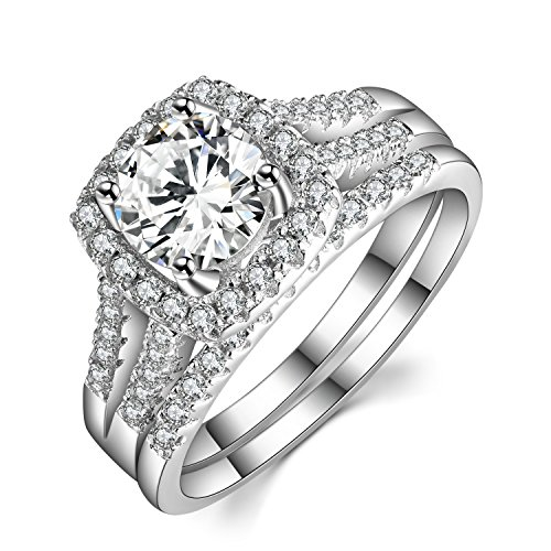 Sterling Silver Wedding Sets.Caperci 2 Carat Round Halo Cubic Zirconia 925 Solid Sterling Silver Wedding Band Engagement Ring Sets