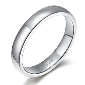 EAMTI 925 Sterling Silver Ring 2mm 4mm 6mm High Polish Plain Dome Tarnish Resistant Comfort Fit Wedding Band