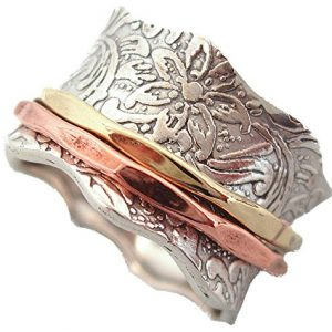"Energy Stone ""BALANCE AND BEAUTY"" Etched Floral Patterned Meditation Spinning Ring (Style# USA88)"