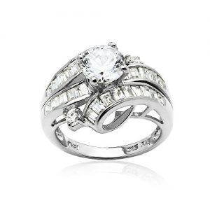 Sterling Silver Cubic Zirconia Channel Set Triple Row Fashion Ring