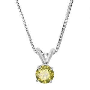 1/2 ct Round Yellow Diamond Solitaire Pendant Necklace 14K White Gold with Chain