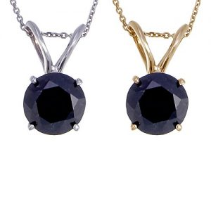 14K Gold Black Diamond Solitaire Pendant (1.50 CT)