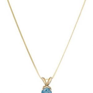 14k Blue Diamond Solitaire Chain Pendant Necklace (1/2cttw, I2 Clarity)
