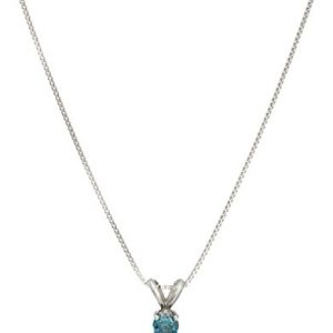 14k Blue Diamond Solitaire Chain Pendant Necklace (1/4cttw, I2 Clarity)