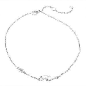 925 Sterling Silver Bezel-Set CZ Foot Feet Womens Link Chain Anklet Bracelet