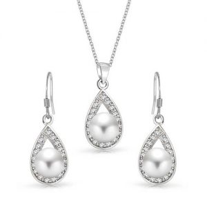 Bling Jewelry Sterling Silver CZ Freshwater Cultured Pearl Teardrop Bridal Necklace Earring Set