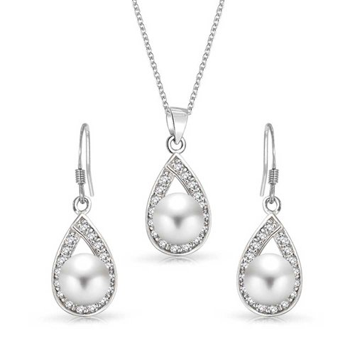 Bling Jewelry Sterling Silver Cz Freshwater Cultured Pearl
