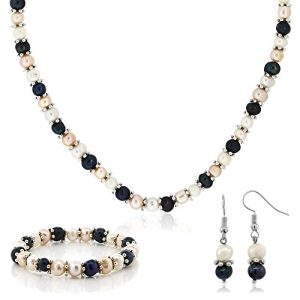Gem Stone King Multi-Color Cultured Freshwater Pearl Necklace Earrings Bracelet Set 7-8MM 18inches