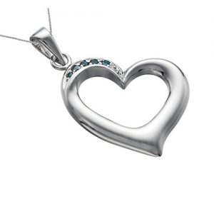 Silver Blue Diamond Heart Pendant (1/10 CT) With 18 Inch Chain