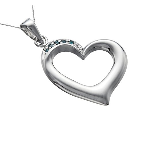 Silver blue diamond heart pendant 110 ct with 18 inch chain on sale mozeypictures Image collections