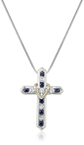 "Sterling Silver, 14k Yellow Gold, and Blue and White Sapphire ""Cross Your Heart"" Pendant Necklace, 18″"