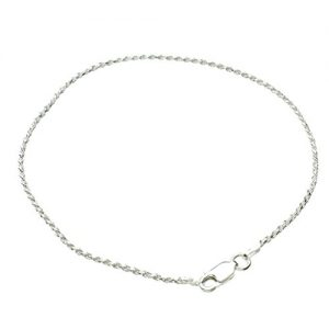 Sterling Silver 1.5mm Diamond-Cut Rope Nickel Free Chain Anklet Italy