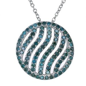Sterling Silver Blue Diamond Pendant (2.25 CT) With 18 Inch Chain