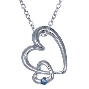 Sterling Silver Blue Sapphire Heart Pendant With 18 Inch Chain