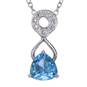 1 cttw Blue Topaz Pendant .925 Sterling Silver With 18 Inch Chain