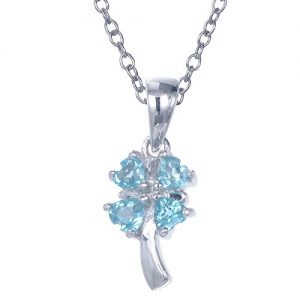 Sterling Silver Blue Topaz Pendant (2/5 CT) With 18 Inch Chain