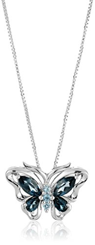 Sterling Silver Swiss and London Blue Topaz Butterfly Pendant Necklace, 18″